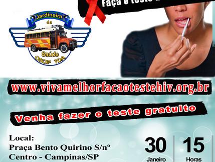 """Projeto """"Viva Melhor"""" realizará testagem de HIV em Campinas no dia 30"""