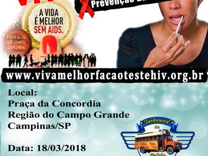 18/03/2018 - VIVA MELHOR realizará teste de HIV/AIDS na Praça Concórdia