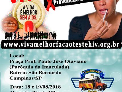 Nos dias 18 e 19/08/2.018 – VIVA MELHOR realizará teste de HIV/Aids no São Bernardo