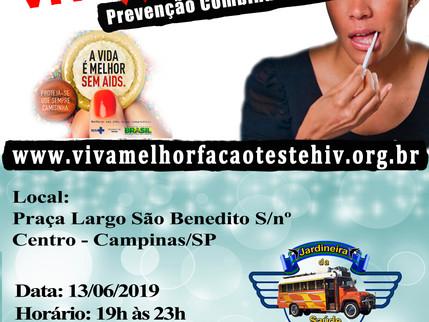 """13/06/2019 – VIVA MELHOR realizará teste de HIV/Aids na Praça Professora Silvia Simões Magro,"""""""