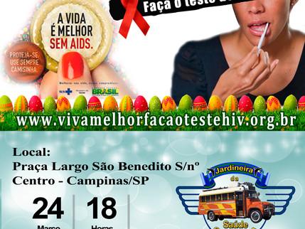 """Projeto """"VIVA MELHOR"""" realizará testagem de HIV em Campinas – SP - 24/03/2016"""