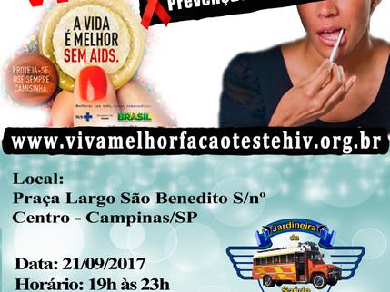 """Projeto """"VIVA MELHOR"""" realizará testagem de HIV no Largo São Benedito em Campinas no dia 2"""