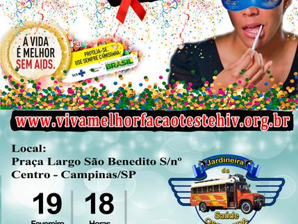 """Projeto """"VIVA MELHOR"""" realizará testagem de HIV em Campinas 19/02/2016"""
