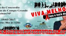 """19/03/2017 - Projeto """"VIVA MELHOR"""" realizará teste de HIV/AIDS na Praça da Concordia"""