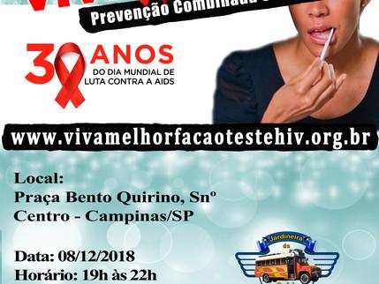 08/12/2018 – VIVA MELHOR realizará teste de HIV/Aids na Praça Bento Quirino