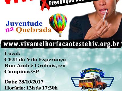 28/10/2017- VIVA MELHOR realizará teste de HIV/AIDS na Vila Esperança