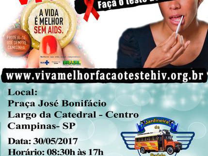 """Projeto """"VIVA MELHOR"""" realizará testagem de HIV no Largo da Catedral  em Campinas nos dia"""