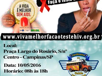 """Projeto """"VIVA MELHOR"""" realizará testagem de HIV em Campinas no dia 10/05/2016"""