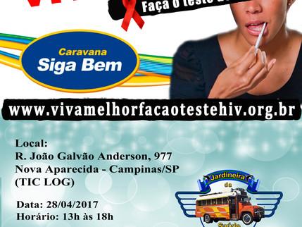 VIVA MELHOR – FAÇA O TESTE DE HIV/AIDS na Caravana Siga Bem em Campinas - 28/04/2017
