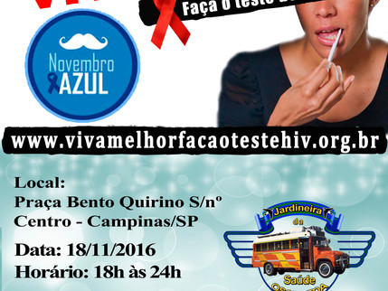 """Projeto """"VIVA MELHOR"""" realizará testagem de HIV na Praça Bento Quirino em Campinas nos dia"""