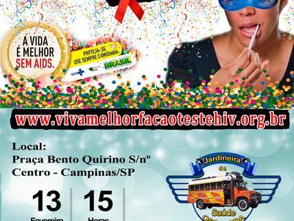 """Projeto """"VIVA MELHOR"""" realizará testagem de HIV em Campinas 13/02/2016"""