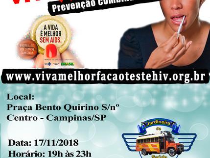 17/11/2018 – VIVA MELHOR realizará teste de HIV/Aids na Praça Bento Quirino