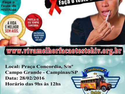 """Projeto """"VIVA MELHOR"""" realizará testagem de HIV em Campinas 28/02/2016"""