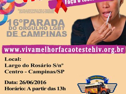 """Projeto """"VIVA MELHOR"""" realizará testagem de HIV na 16º Parada do Orgulho LGBT de Campinas"""