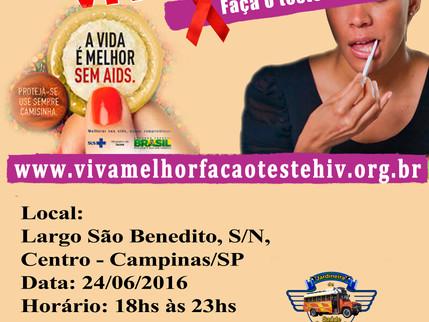 """Projeto """"VIVA MELHOR"""" realizará testagem de HIV em Campinas – SP - 24/06/2016"""