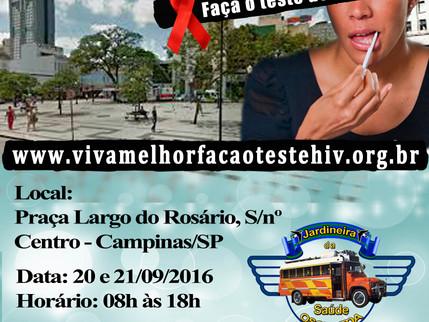 """Projeto """"VIVA MELHOR"""" realizará testagem de HIV no Lago do Rosário em Campinas nos dia 20"""