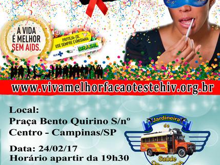 """Projeto """"VIVA MELHOR"""" realizará ação de prevenção do HIV na Praça Bento Quirino,  no dia 2"""