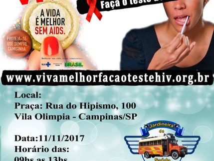 """Projeto """"VIVA MELHOR"""" realizará testagem de HIV na Vila Olímpia em Campinas no dia 11/11/2"""