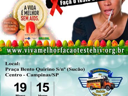 """Projeto """"VIVA MELHOR"""" realizará testagem de HIV em Campinas, 19/03/2016"""