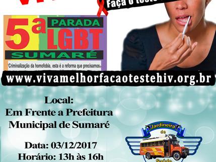 Projeto VIVA MELHOR realiza ação preventiva na 5ª Parada do Orgulho LGBT de Sumaré