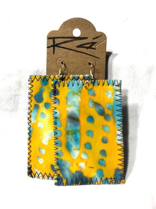 Yellow/Teal Batik (earrings)