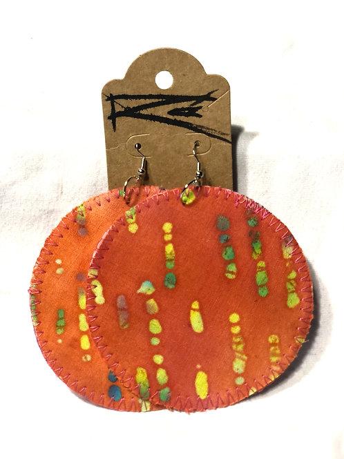 Orange Batik Circle (earrings)