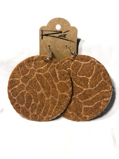 Brown Felt Pebble (earrings)