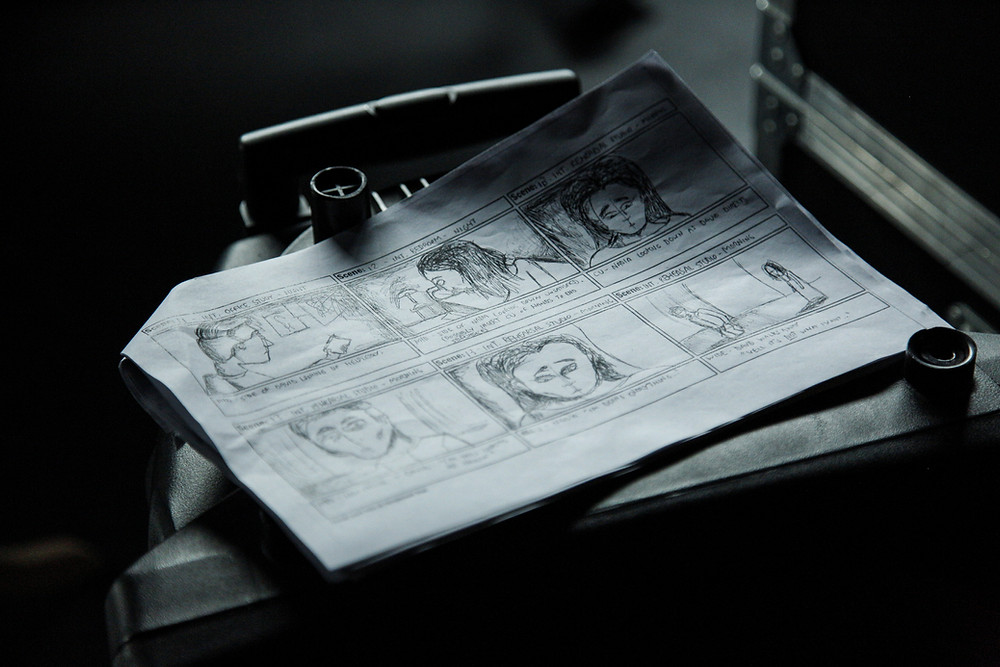 A storyboard in use on a film set.