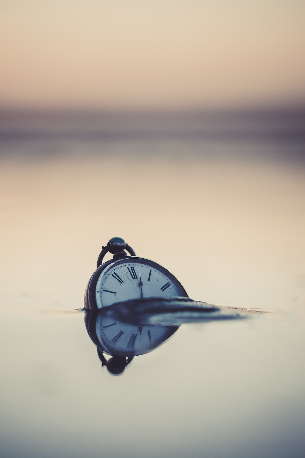 A stopwatch, isolated but calm, sinks into a lake.