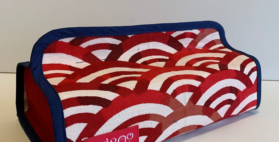 G08 赤い青海波のティッシュボックスケース