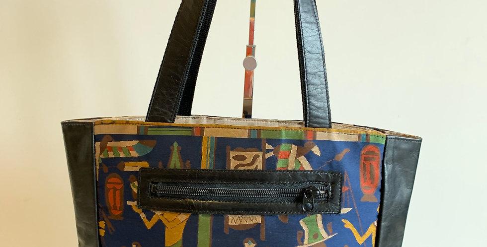 B17 エジプト柄帯マチ付きトートバッグ