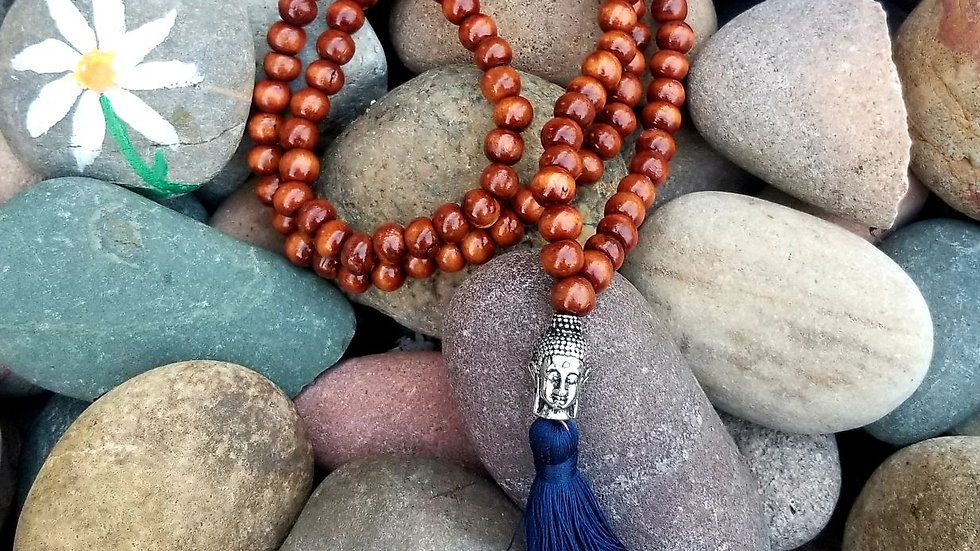 Wood Bead Mala Prayer Necklace; Dark Blue Tassel