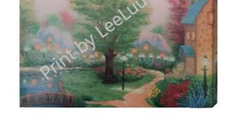 Print Original Painting of Sleepy Cottage Village