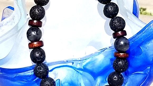 Tibetan Buddha Lava Stone Bracelet