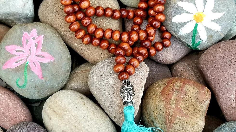 Wood Bead Mala Prayer Necklace; Turquoise Tassel