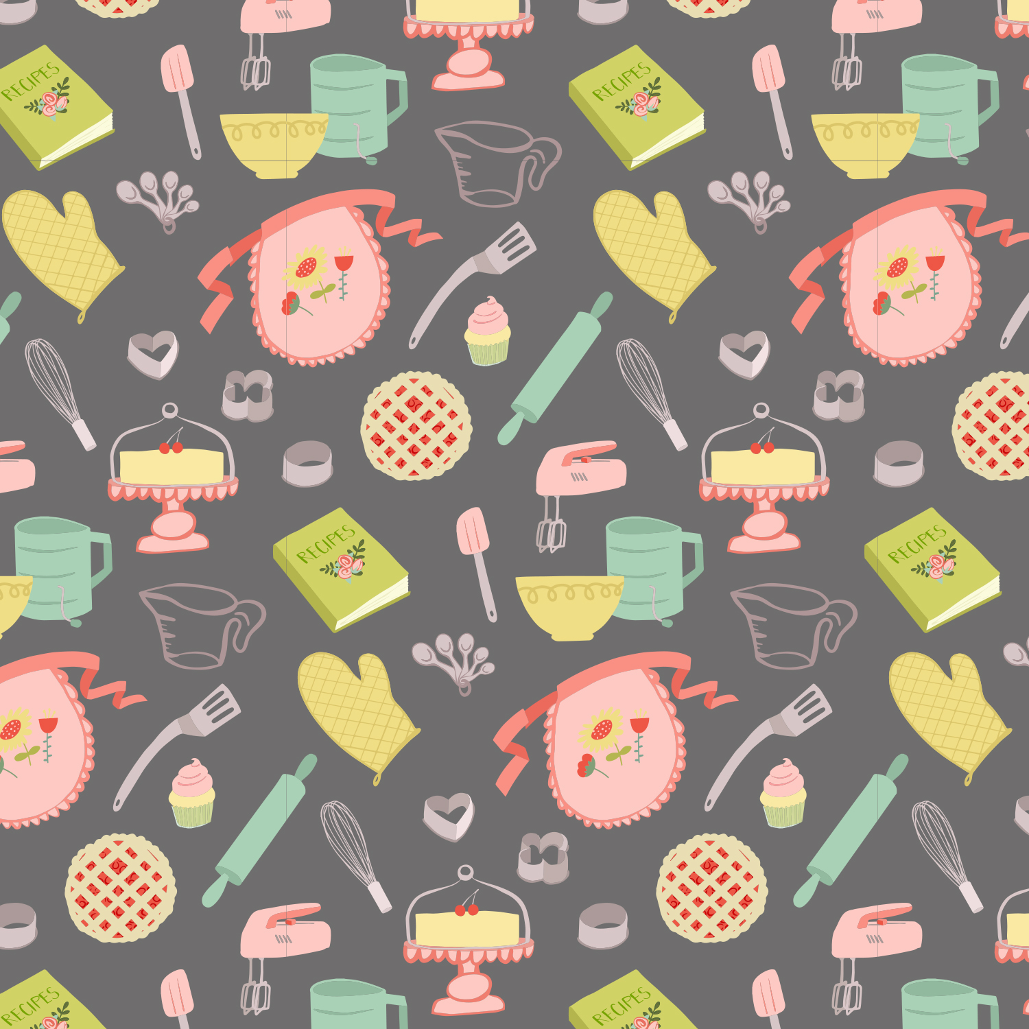 Happy Kitchen Pattern Dark
