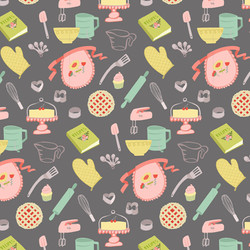 Happy Kitchen Pattern Dark