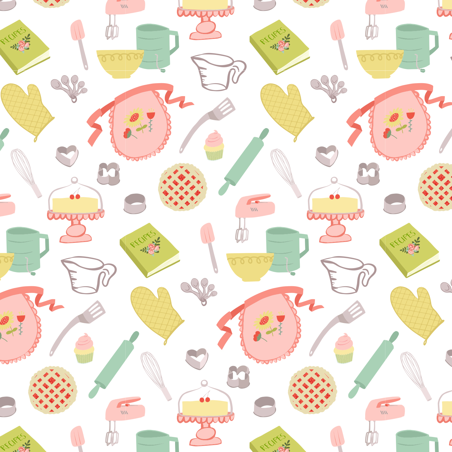 Happy Kitchen Pattern Light