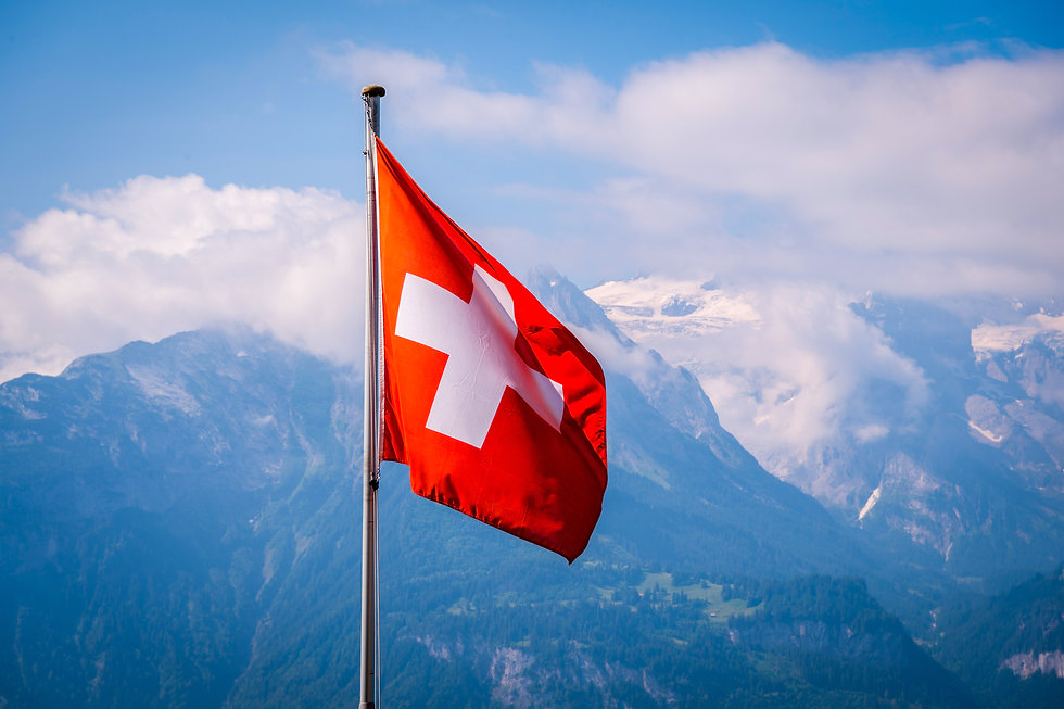 Swiss flag waving  with Mountains backgr