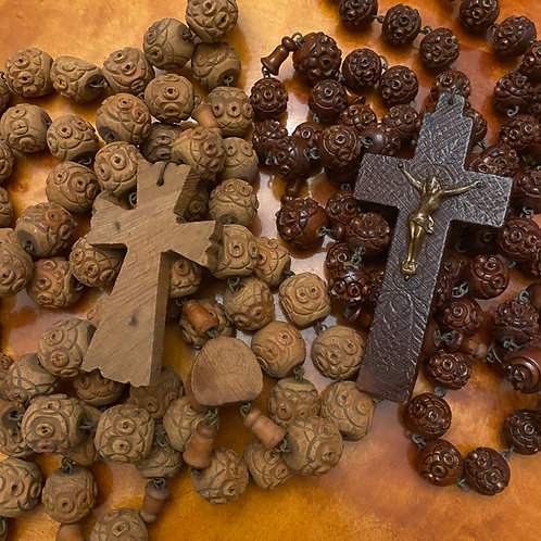 Large carved wooden bead rosary or Chapelet