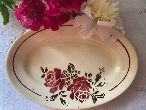 French ironstone rose oval dish