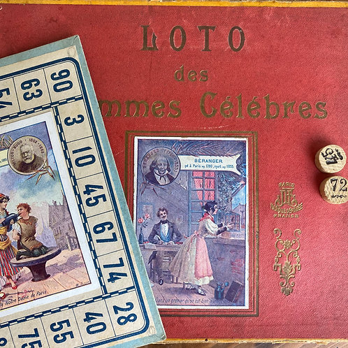 French lotto game from 1800s from Paris with Literary Greats