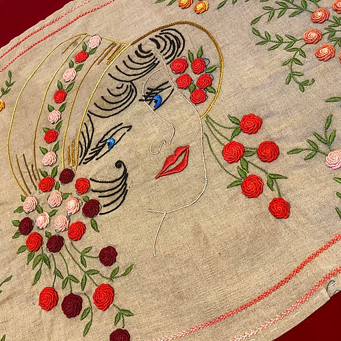 French vintage embroidered panel