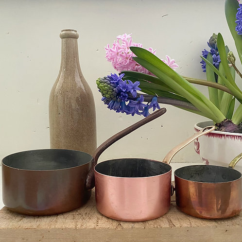 Trio of French vintage copper pans