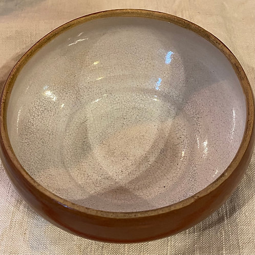 Antique stoneware French teurgoule bowl with perfect patina