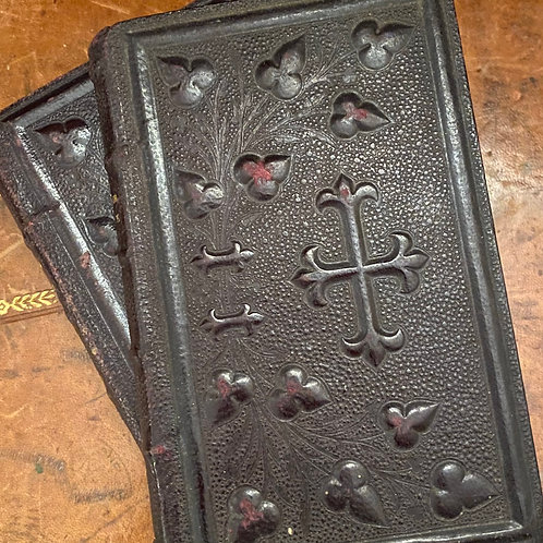Pair of 1890s French leather bound prayer books