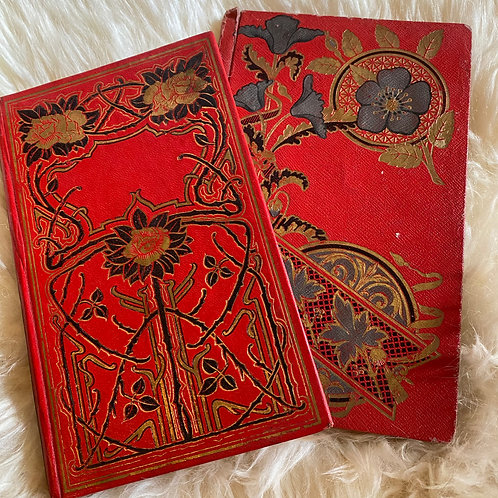Pair of early 1900s beautiful red and gold French antique books
