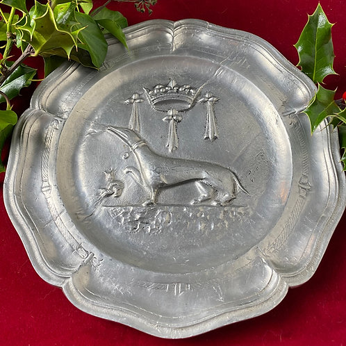 French Manoir pewter plate
