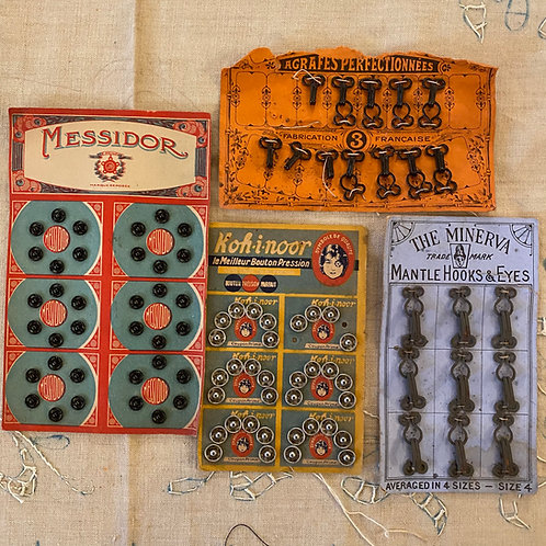 French vintage fasteners for sewing