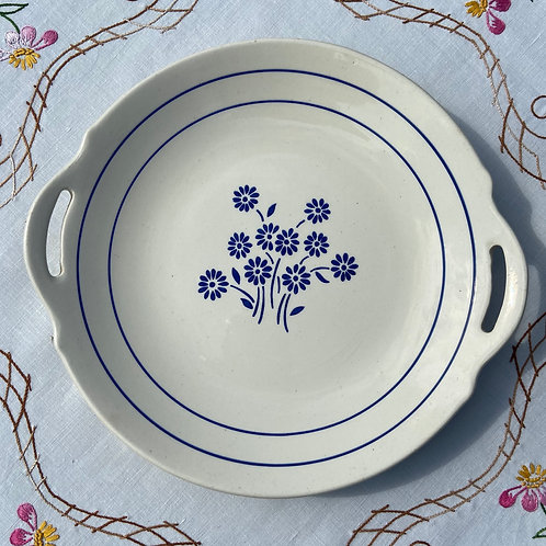 Deco blue and white  elegant serving plate